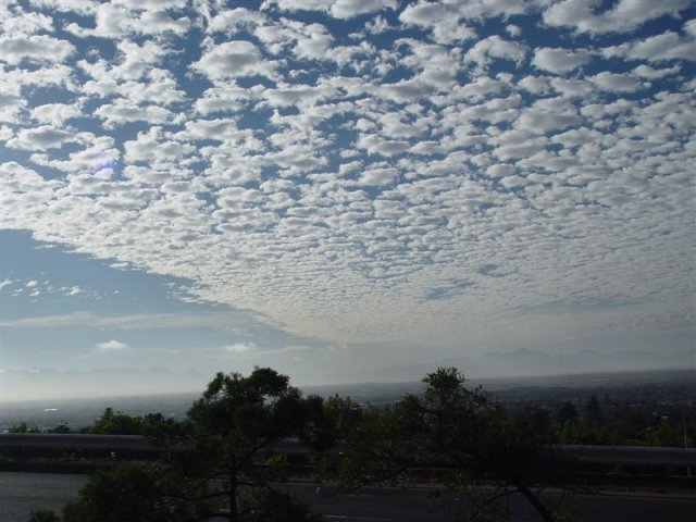 Cloud speckeled sky